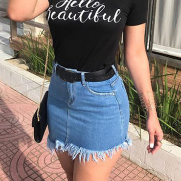 Denim Skirt jupe femme shein High Waist Tassels Zipper Pockets