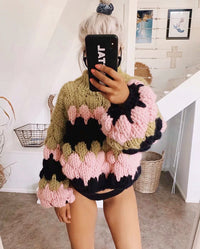 Boho Inspired color blocked thick pullovers long lantern sleeve