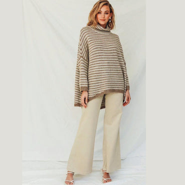 Khaki stripe sweat turtleneck long sleeve warm sweater