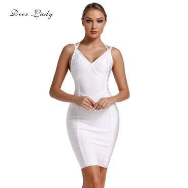 New Arrivals Halter Sexy White Bandage Bodycon Evening Party Dress