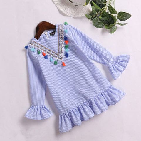 Nine Quarter Stripe Tassel Outfits Mother and daughter clothes dress