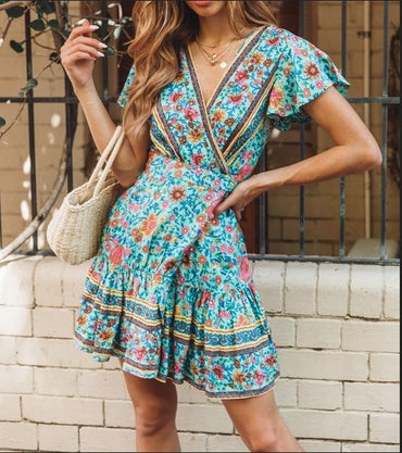 Drop shipping Vintage Short Sleeve Print Dress