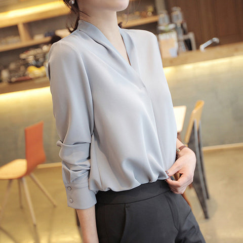 long sleeve solid white chiffon office tops and blouses