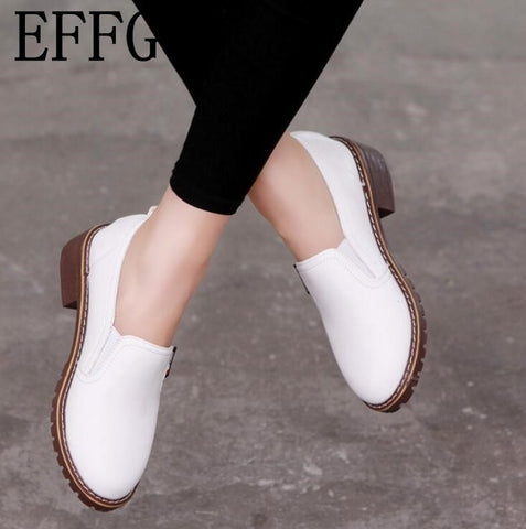fashion Round Toe Oxford single Soft Leather Bullock Flat shoes
