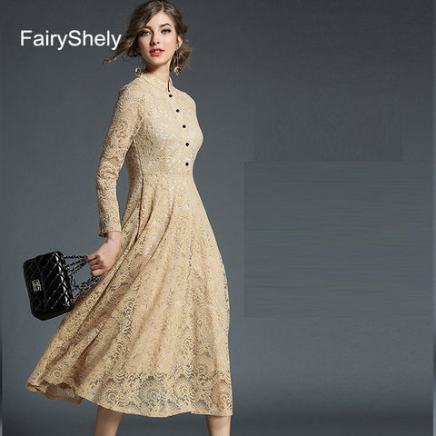 Long Sleeves Temperament Black Sexy Elegant Lace Club Celebrity Evening Party Dress