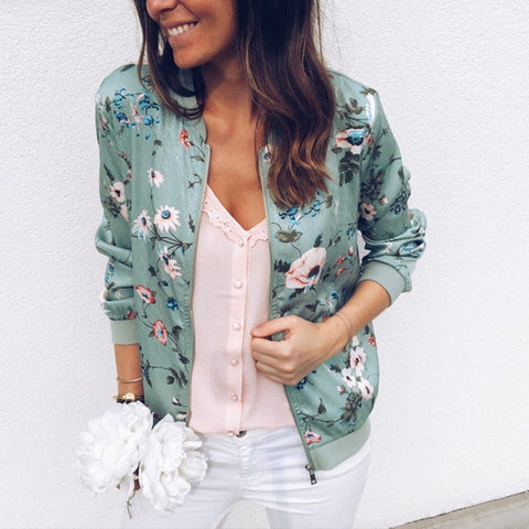 Short Retro Floral Printed Long Sleeve Zipper Bomber Jackets