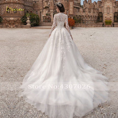 High Neck Ball Gown Wedding Appliques Long Sleeve Button Bride Dresses