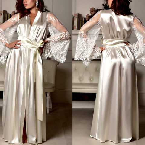 V-Neck Silk Satin Night Gown Robe Dress Sexy Lace Belt Sleepwear