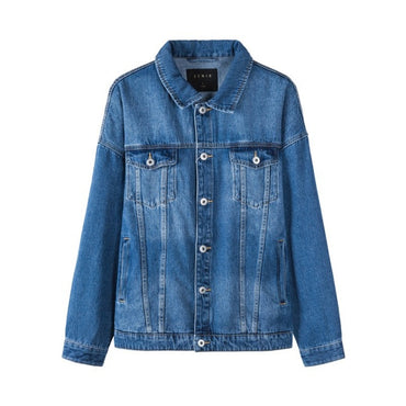 Retro Chest Pocket Washed with Shirt Collar Dropped Shoulder Fashion Jacket
