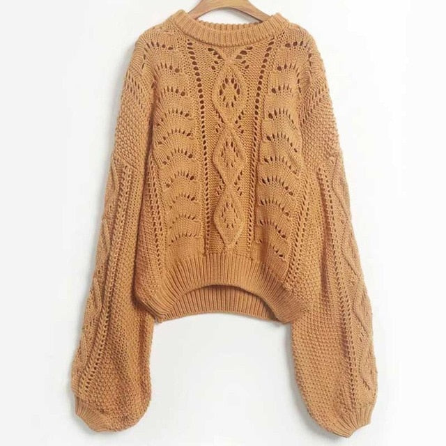 Boho Inspired Mustard Knitted Round Neck Hollow Sweater puff sleeve fashion