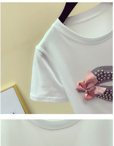 Beaded Lip Bow-tie with Round Collar Loose Tshirt