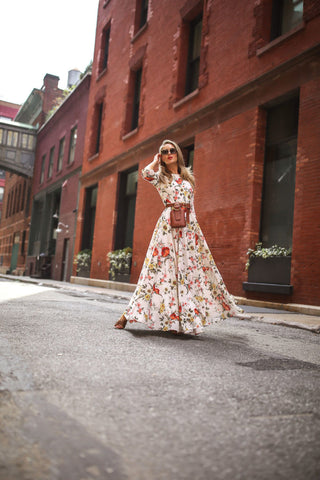 Casual Boho Floral Printed Holiday Long Dress