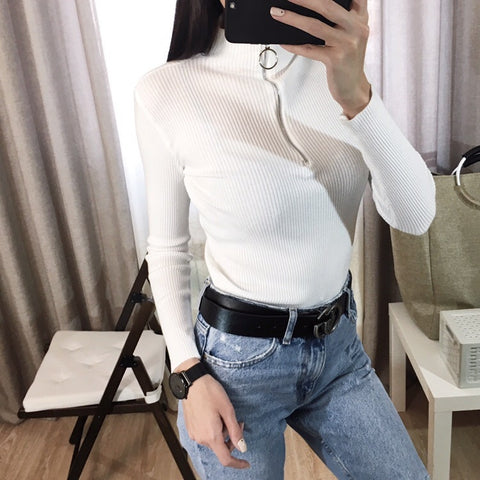 Zipper Turtleneck Clothes Pullover Jumper Knit Sweater