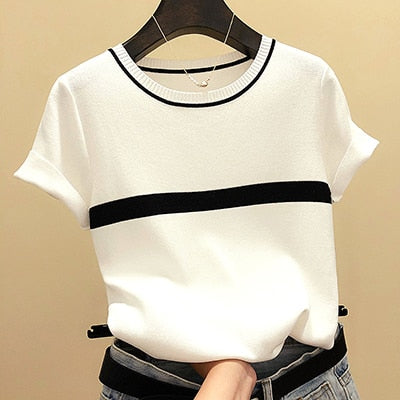 Thin Knitted Cotton Short Sleeve Tees Tops Striped Casual T-Shirt