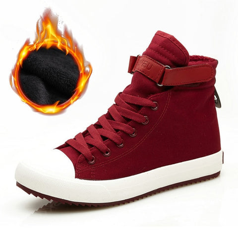 Shoes High top Sneakers Warm Fur Shoes Canvas Casual Ankle Boots