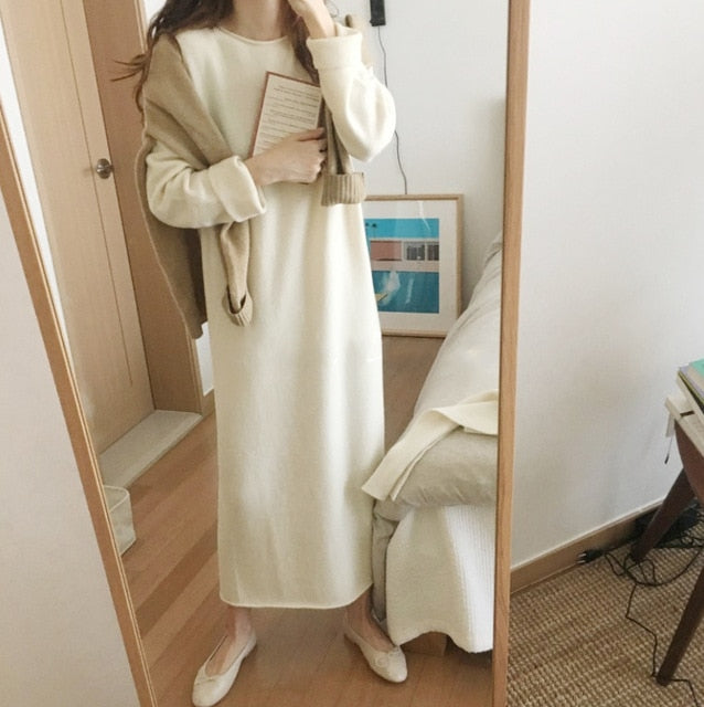 Long Sweater Knitted Long loose Maxi Oversize Lady Dresses