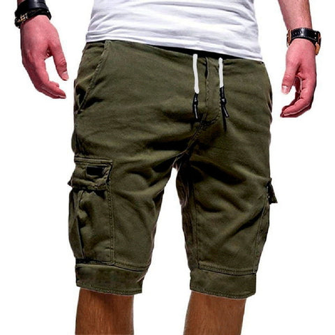 Casual Cargo Multi-pocket Solid Color Drawstring Fashion Shorts