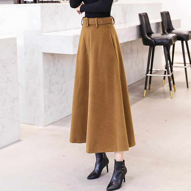 Wool With Belt Solid Color Vintage Woolen Skirt