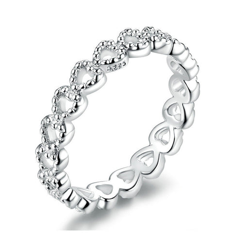 STYLE BRAIDED PAVE LEAVES My Princess Queen Crown SILVER RING