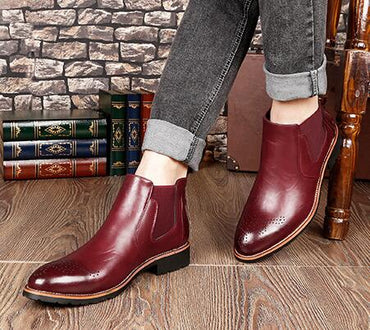 Classic Genuine Leather Ankle Chelsea Boots Shoes With Fur