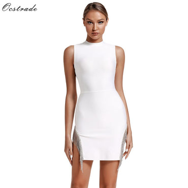 Crystal Trim Bandage Party Sexy White Bandage Dress