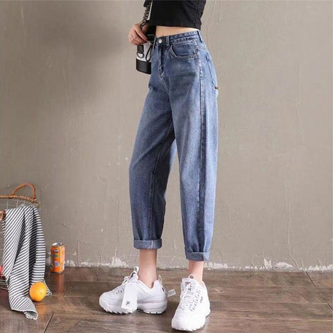 Casual Denim Pants Streetwear Female Vintage Ankle-length Jeans