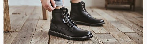 Lace-up Casual Ankle Fashion Shoes Basic Leather Outdoor Boots