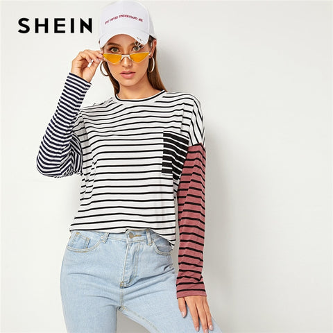 Striped Print Drop Shoulder Pocket Front Casual T-Shirt