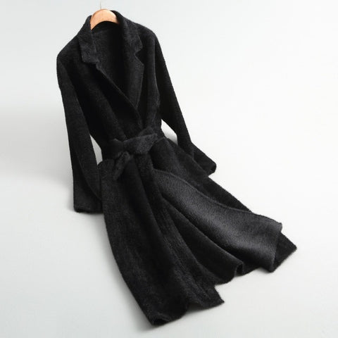 Solid Knitted Mink Cashmere Coat Elegant Office Lady Cardigan
