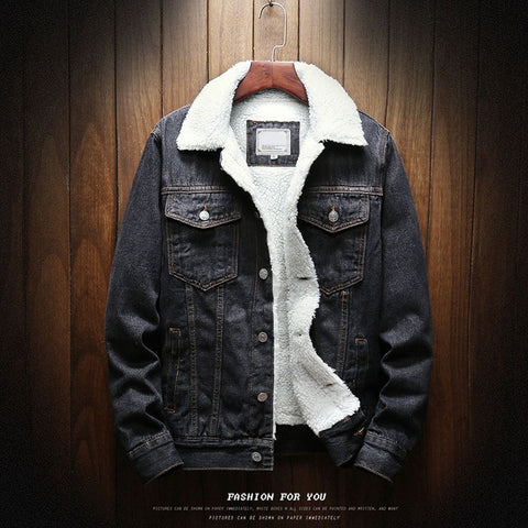 Jean Jackets Outerwear Warm Denim Coats Large Size