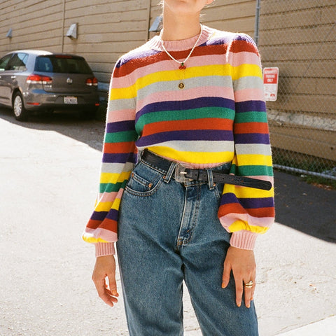 Rainbow Striped Sweater Pullover Boho Knitted Jumpers Long Sleeve