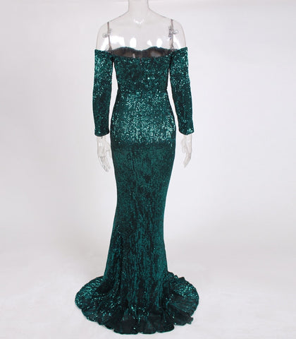 Maxi Gold Navy Green Sequin Long Floor Length Party Dress
