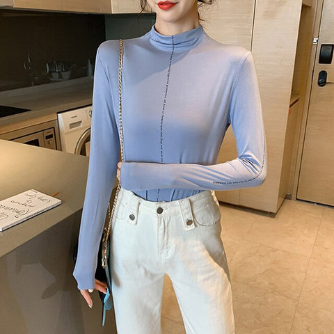 Turtleneck Slim Less Is More Large Size Fashion New T-Shirts