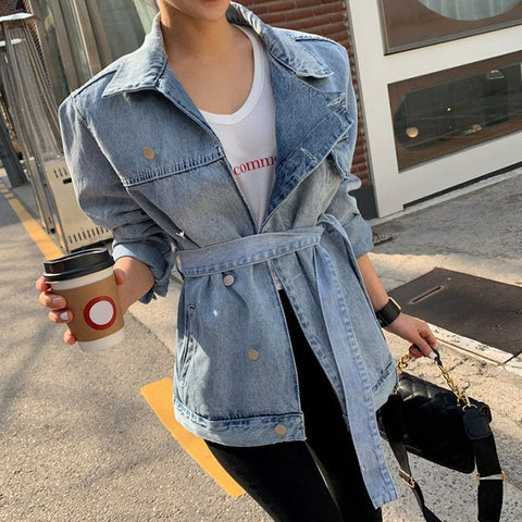 Coats Lapel Collar Long Sleeve Lace Up Female Coat Oversized Fashion