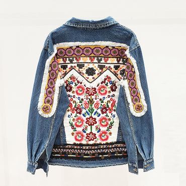 Denim jacket floral embroidery retro boho appliques jacket