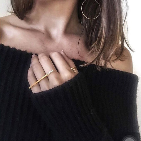 Minimalist Midi Fashion Geometric Long Bar Knuckle Vintage Gold Silver Rings