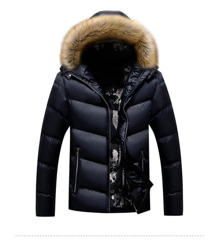 Padded Coat Thick Parka Fur Collar Hooded Coats Casual Outerwear Jackets