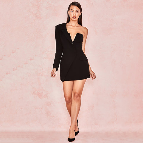 Deep V-Neck Zipper Fashion Party Club Wrap Mini Dresses