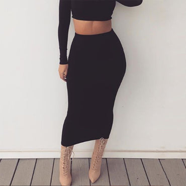 Colysmo Double Layers High Waist Pencil Midi Skirt