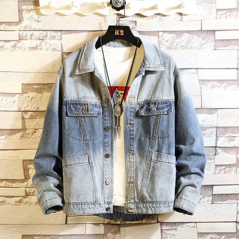 MAX CHEST Stand Collar Casual Fashion Clothes Denim Jacket
