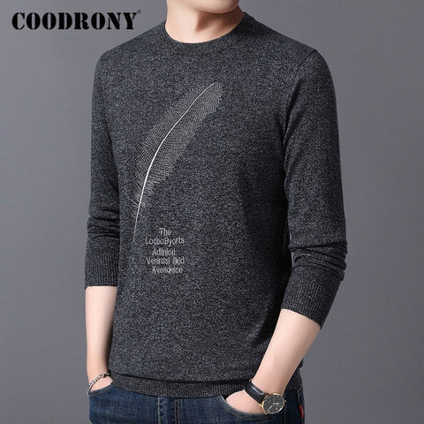 Brand Casual O-neck Pull Homme Knitted Cotton Wool Pullover Sweaters