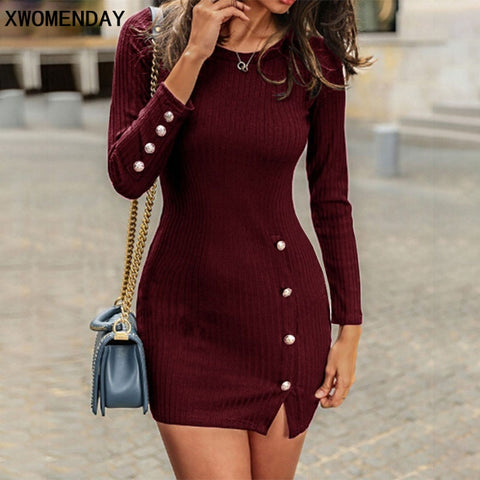 Short Long Sleeve Sexy Mini With Button Slit Plus Size Bodycon Dresses