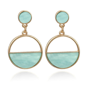 Color Metal Simple Charm Hollow Geometric Pendant Earrings