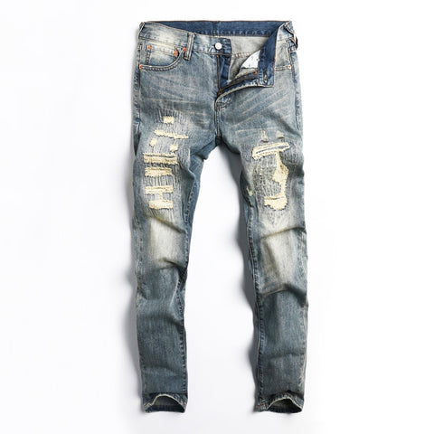 Retro Wash Destroyed Ripped Jeans