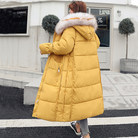 Fur Hooded Long Coat Loose Thicken Warm Female Jacket