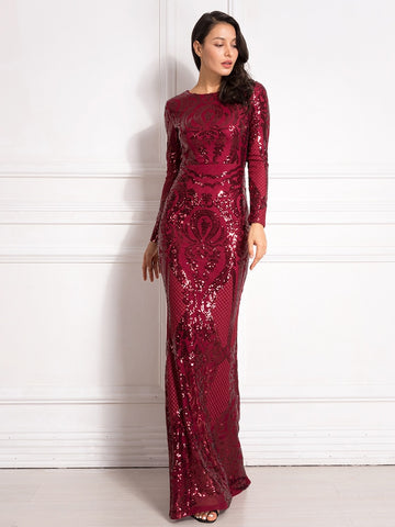 Long Sleeve Sequined Bodycon O Neck Full Length Stretchy Party Dress