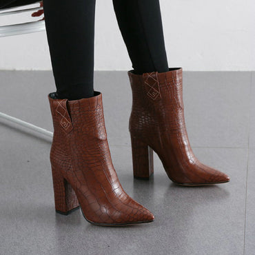 yellow brown white block high heels shoes fashion boots