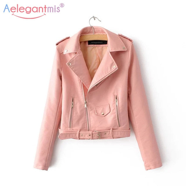 New Short Faux Soft Leather Jacket Fashion Zipper Motorcycle