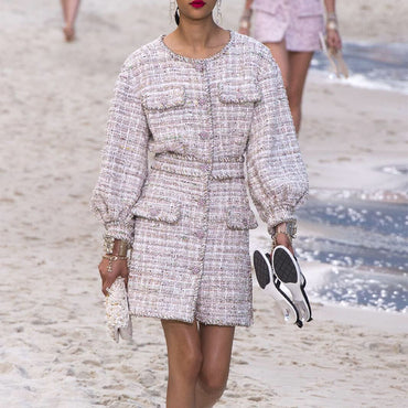 Wool Tweed New Runway Designer Mini Dress