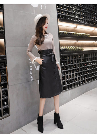 Button High Waist Leather A Line Sexy Slim Ladies Bodycon Skirts with Belt